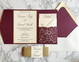 wedding invitation pockets laser cut pocket wedding invitation burgundy and gold glitter