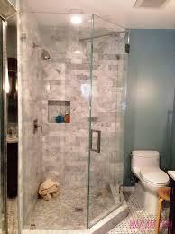 bathroom shower frameless glass tub doors black and white