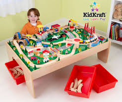 kidkraft natural train table with 3 bins and 120pc mountain train