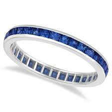 gold eternity rings princess cut blue sapphire eternity ring band 14k white gold 1 36ct