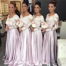 bridesmaids dress white lace pink satin popular bridesmaids dresses 2018