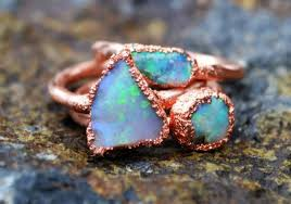 copper engagement ring opal ring copper electroformed ring ring copper
