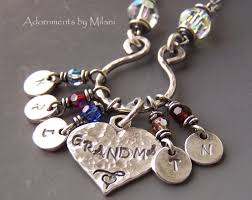 custom necklace charms necklace birthstone personalized five grandchildren charms