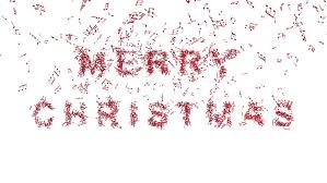 freezing merry christmas word snowflakes red