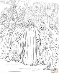 judas betrays jesus with a kiss coloring page free printable
