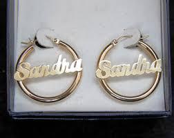 Name Hoop Earrings Gold Name Earrings Etsy
