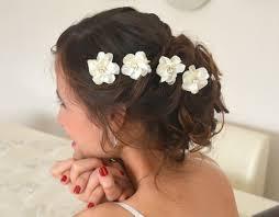 art deco crystal rhinestones ivory satin bridal 5 hair flowers