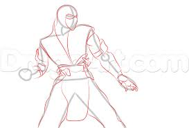 how to draw sub zero from mortal kombat x step by step video