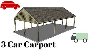 carport design plans 3 car carport plans youtube