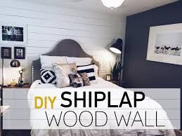 Wood Wall Living Room by Diy Wood Wall White Shiplap Wall Robeson Design Youtube
