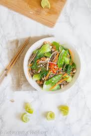 fresh vegetable soba noodle salad with soy lime vinaigrette