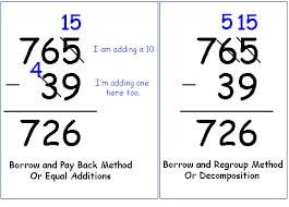 equal additions method of subtraction instead of borrowing k 8