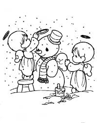 download snowman coloring pages cute angels decorating snowman or