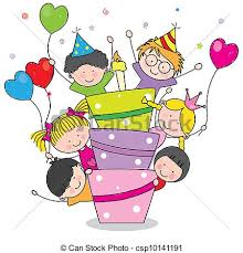 eps vectors of birthday card children at birthday party