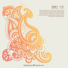 orange paisley ornaments template vector free