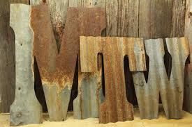 tin home decor rusty tin letters free shipping monogram rustic letter