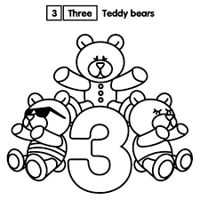 learn number 3 teddy bears colouring happy colouring