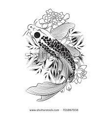tattoo armblack white koi fish vectorhand stock vector 701867038
