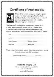 examples of certificates on the back of original art certificate
