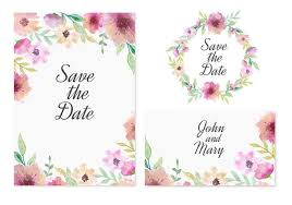 save the date card free vector save the date card with pink watercolor flowers