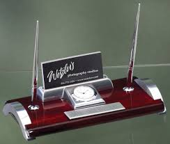 Mahogany Desk Accessories Gift Boxed Mahogany And Silver Desk Clock And Pen Set With