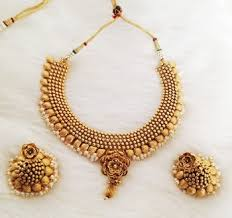 gold antique necklace sets images Buy 1gm antique gold floral designer necklace set online jpg