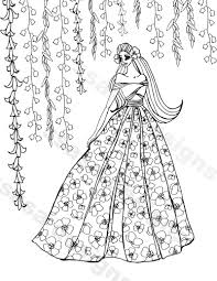floral gown fashion illustration coloring by ssasadesigns
