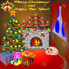 illustration of christmas fireplace with a tree gifts candles