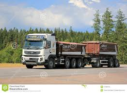 volvo truck trailer volvo fmx construction trailer truck on the road editorial photo