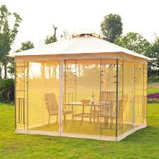 Pop Up Gazebos With Netting by Outsunny 3x3 M Metal Gazebo W Mosquito Net Black Ash Frosted Beige