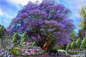 gardenpuzzle project horses grazing by a lavender tree