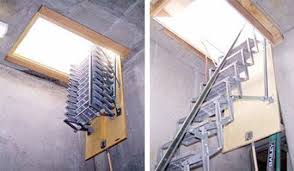 look accordian style aluminum attic ladders apartment therapy