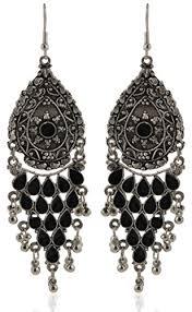 fancy jhumka earrings chiclady fashion jewellery fancy party wear black color ethnic