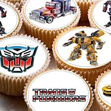 24 precut transformers edible wafer paper cake toppers decorations 24 cupcake fairy cake toppers 4cm on icing transformers
