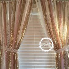 Glitter Curtains Ready Made Pink Gold Sparkle Sequin Garland Curtain With Lace Nursery