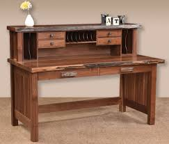 solid wood writing desk with hutch awesome solid wood writing desk for live edge amish deluxe