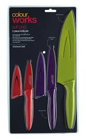 coloured kitchen knives set craft colourworks soft grip 3 piece knife set