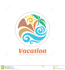 Beach Color by Summer Travel Vacation Vector Logo Concept Illustration In Circle