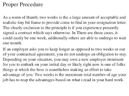 standard resignation letter sample short notice resignation