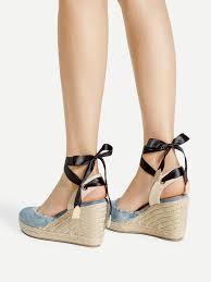 ankle wrap denim wedge sandalsfor women romwe