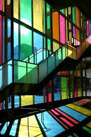 Color In Interior Palais Des Congres Montreal Canada Tinted Glass Windows