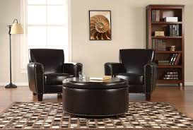 Black Leather Armchair Inspiring Black Leather Ottoman Coffee Table For Your Living Room