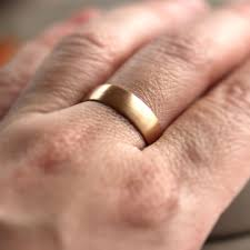 brushed gold wedding band wide gold men s wedding band recycled 14k gold 6mm