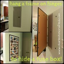 hang a frame on hinges to hide a breaker box for the home