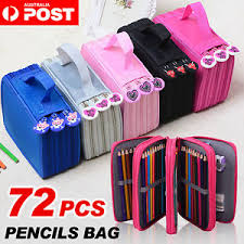 portable colors drawing sketching pencils pen case holder bag for