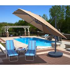 Pool And Patio Decor Furniture Rectangle Cream Cantilever Patio Umbrella With Grey