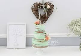 rustic mint and peach wedding cake at durker roods hotel huddersfield