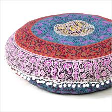 blue bohemian decorative seating boho mandala throw floor cushion