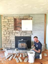 brick fireplace makeover stone veneer how wall ideas decorating
