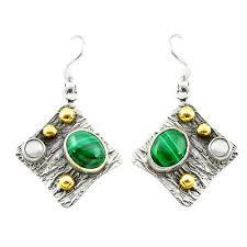earrings s green malachite pilot s 925 silver gold dangle